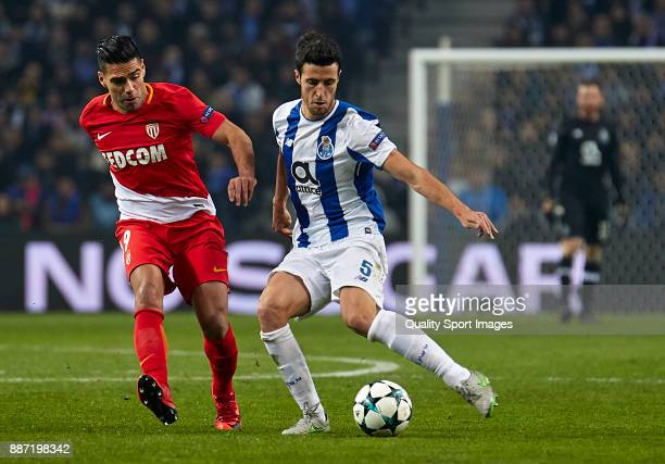 Ivan Marcano of FC Porto is challenged by Radamel Falcao of AS Monaco during the UEFA Champions League group G match between FC Porto and AS Monaco...