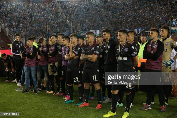 Ivan Marcone of Lanus and teammates looks dejected after losing the second leg match between Lanus and Gremio as part of Copa Bridgestone...