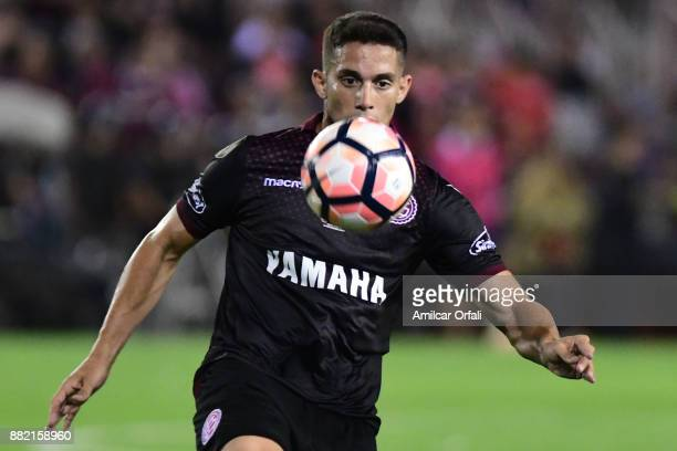 Ivan Marcone of Lanus controls the ball during the second leg match between Lanus and Gremio as part of Copa Bridgestone Libertadores 2017 Final at...