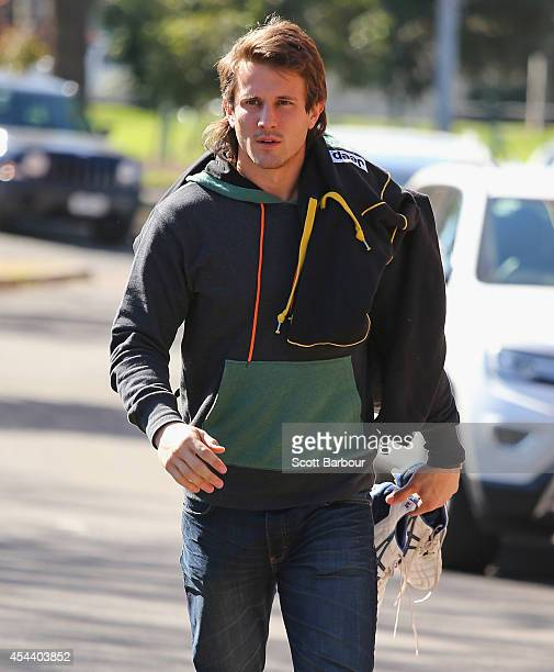 Ivan Maric of the Tigers arrives at the ME Bank Centre during a Richmond Tigers AFL recovery session on August 31 2014 in Melbourne Australia