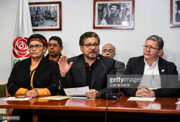 Ivan Marquez Amparo Sandino and Pablo Catatumbo members of the Common Alternative Revolutionary Force political party deliver a press message in...