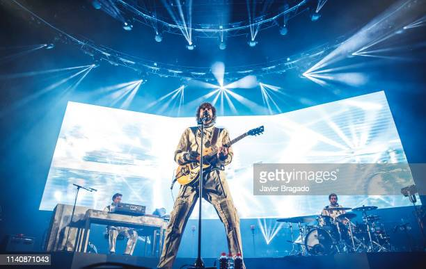 Ivan Mella Mikel Izal and Alejandro Jorda from the band Izal performs in concert on stage at WiZink Center on April 06 2019 in Madrid Spain