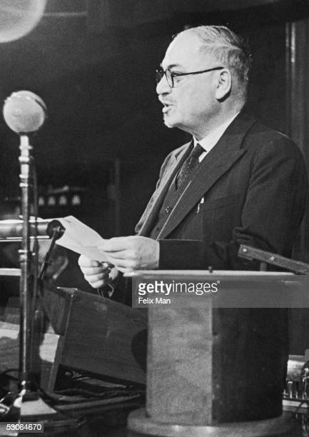 Ivan Mikhailovich Maisky the Soviet Ambassador to Britain chairs the session on 'Science and World Planning' part of the International Science...