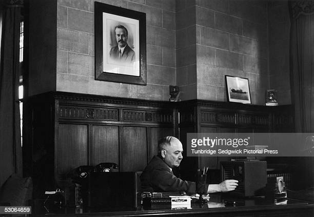 Ivan Mikhailovich Maisky the Soviet Ambassador to Britain in his office at the Russian Embassy in London July 1940 A photograph of Russian statesman...