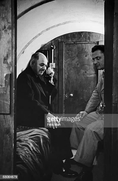 Ivan Mikhailovich Maisky the Soviet Ambassador to Britain in the underground bomb shelter in the garden of the Russian Embassy in London 12th July...