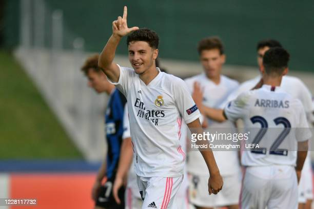 Ivan Morante of Real Madrid CF celebrates his goal during the UEFA Youth League 2019/20 Quarter-final match between FC Internazionale Milano and Real...