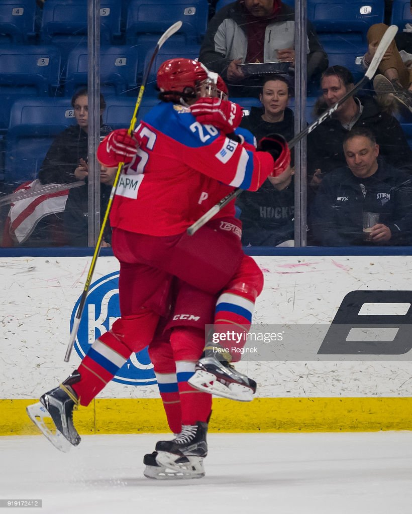 Ivan Morozov #8 of the Russian Nationals celebrates a goal with teammate Alexander Romanov #26 during the 2018 Under-18 Five Nations Tournament game against the USA Nationals at USA Hockey Arena on February 16, 2018 in Plymouth, Michigan. The USA defeated Russia 5-4.