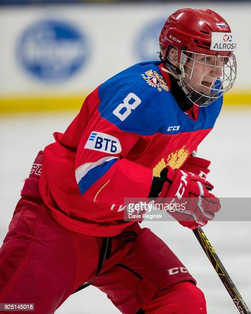 Ivan Morozov of the Russian Nationals follows the play against the Finland Nationals during the 2018 Under18 Five Nations Tournament game at USA...