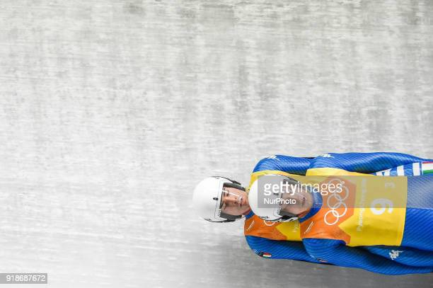 Ivan Nagler and Fabian Malleier of Italy competing in luge Team Relay Competition at Olympic Sliding Centre at Pyeongchang South Korea on February...