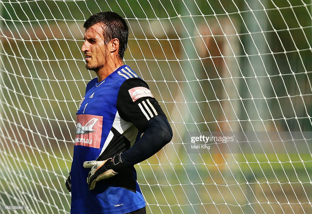 Ivan Necevski takes a break during a Sydney FC A-League training session at Macquarie Uni on March 5, 2013 in Sydney, Australia.