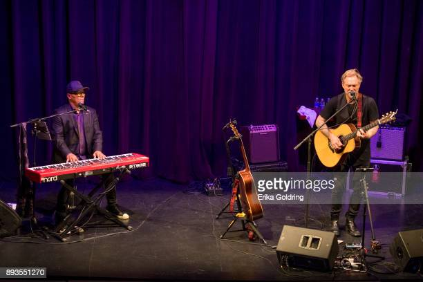 Ivan Neville and Anders Osborne perform during Can'd Aid Foundation's Send Me A Friend Benefit Concert at Le Petit Theatre on December 14 2017 in New...