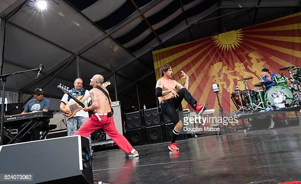 Ivan Neville of Dumpsta Phunk Flea George Porter of the Meters Anthony Kiedis and Chad Smith The Red Hot Chili Peppers Perform during the New Orleans...