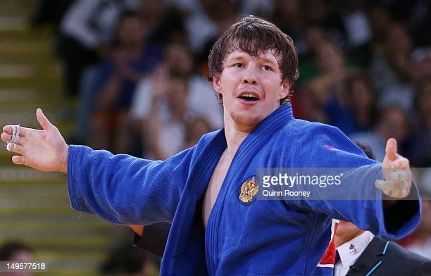 Ivan Nifontov of Russia reacts to defeating Takahiro Nakai of Japan in the Men's 81 kg Judo on Day 4 of the London 2012 Olympic Games at ExCeL on...