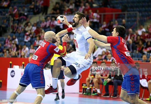 Ivan Nikcevic , Nikola KARABATIC , Nemanja Zelenovic 12th Men's European Handball Championship EHF EURO 2016 Prelimary round group A : Serbia vs...