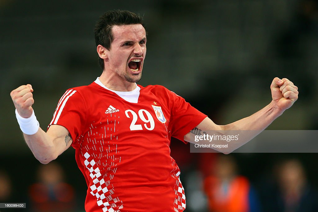 Ivan Nincevic of Croatia celebrates a goal during the Men's Handball World Championship 2013 third place match between Slovenia and Croatia at Palau Sant Jordi on January 26, 2013 in Barcelona, Spain.
