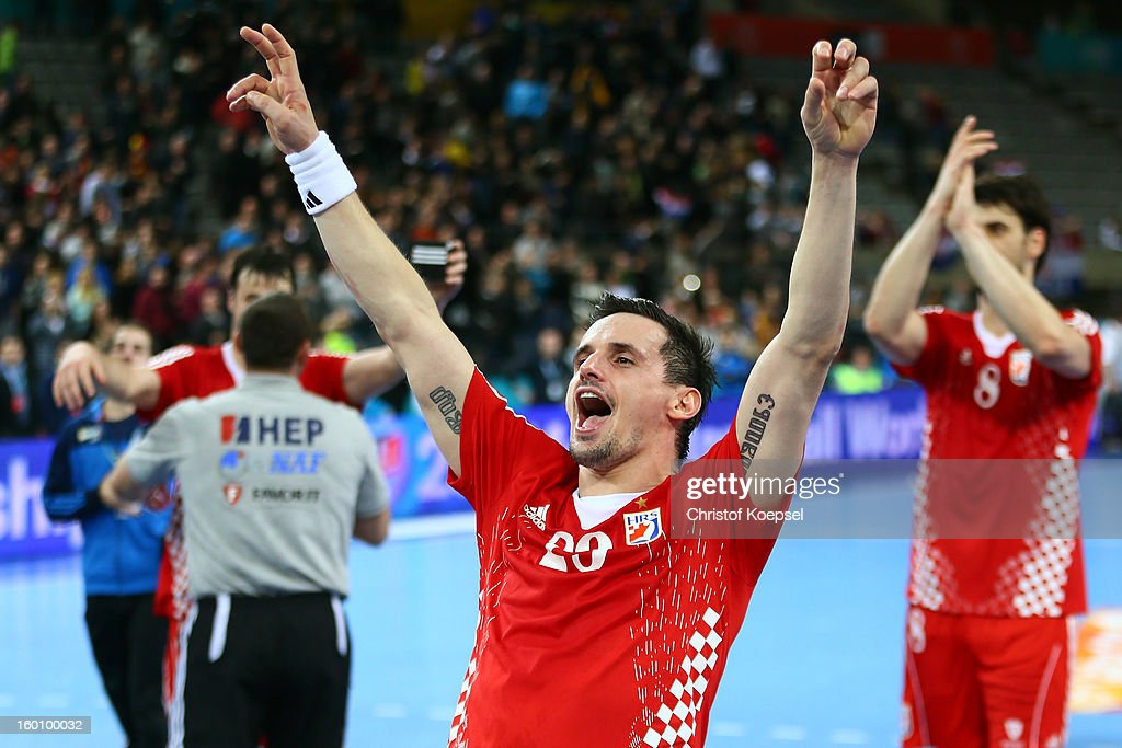 Ivan Nincevic of Croatia celebrates after the Men's Handball World Championship 2013 third place match between Slovenia and Croatia at Palau Sant Jordi on January 26, 2013 in Barcelona, Spain. The match between Slovenija and Croatia ended 26-31.