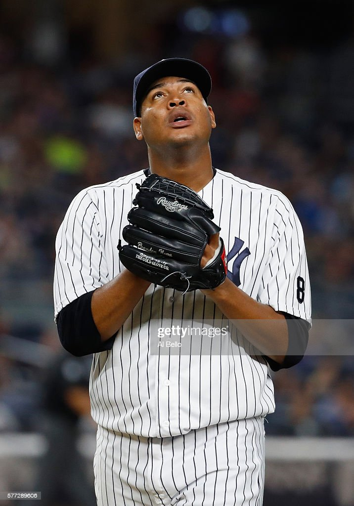 Ivan Nova #47 of the New York Yankees leaves the game after the sixth inning against the Baltimore Orioles during their game at Yankee Stadium on July 18, 2016 in New York City.