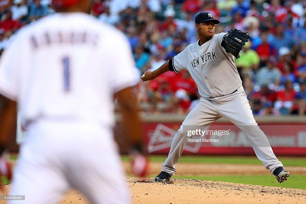 Ivan Nova #47 of the New York Yankees throws against the Texas Rangers at Rangers Ballpark in Arlington on July 22, 2013 in Arlington, Texas.