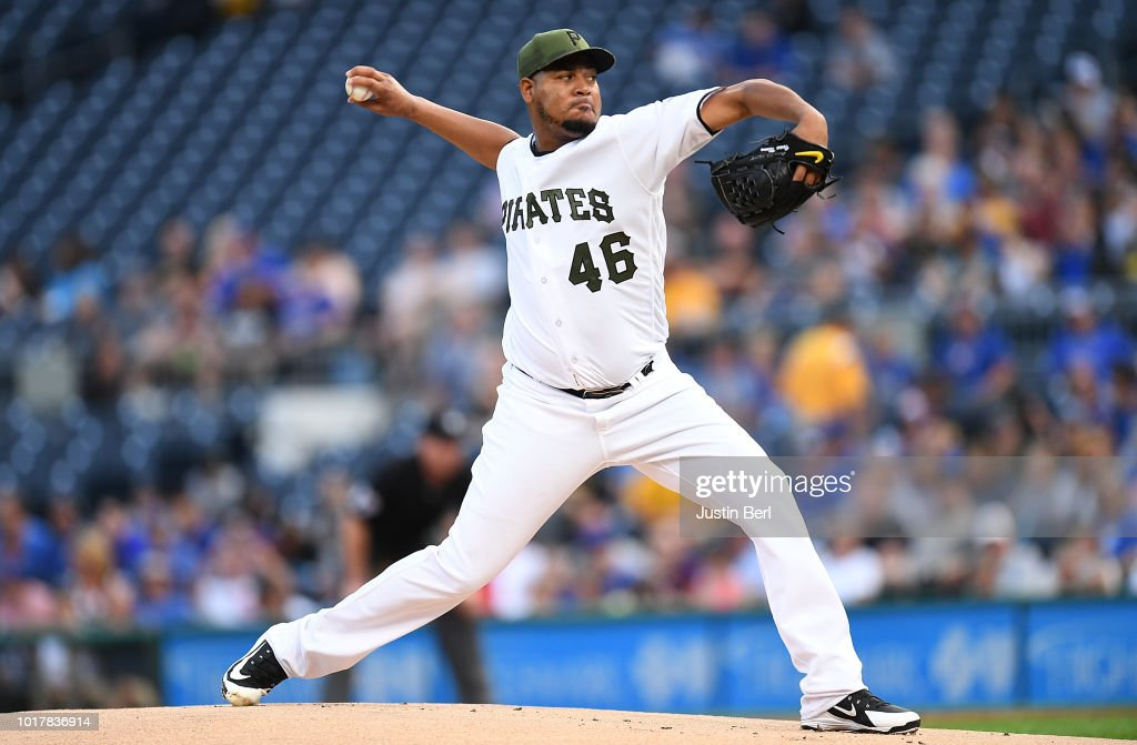 Ivan Nova #46 of the Pittsburgh Pirates delivers a pitch in the first inning during the game against the Chicago Cubs at PNC Park on August 16, 2018 in Pittsburgh, Pennsylvania.