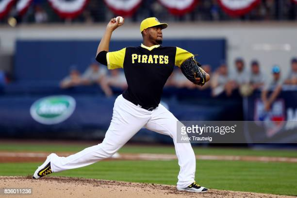 Ivan Nova of the Pittsburgh Pirates pitches during the 2017 Little League Classic Game agains the St Louis Cardinals at Historic Bowman Field on...