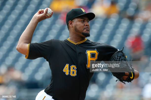Ivan Nova of the Pittsburgh Pirates pitches in the first inning during game one of a doubleheader against the Milwaukee Brewers at PNC Park on July...