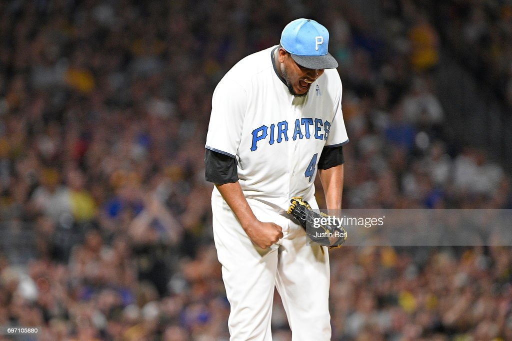 Ivan Nova #46 of the Pittsburgh Pirates reacts after striking out Jon Jay #30 of the Chicago Cubs in the seventh inning during the game at PNC Park on June 17, 2017 in Pittsburgh, Pennsylvania.