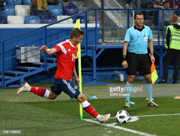 Ivan Oblyakov seen taking a corner kick during the match 2019 UEFA European Under21 Championship Russia vs Serbia Group 7 The Russian team lost to...