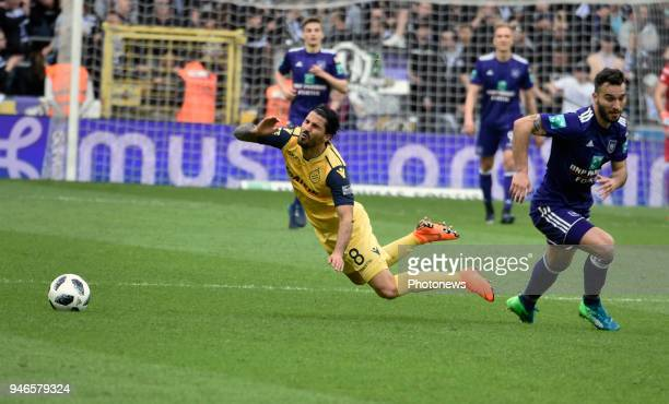 Ivan Obradovic defender of RSC Anderlecht and Lior Refaelov forward of Club Brugge pictured during the Jupiler Pro League PlayOff 1 match between RSC...