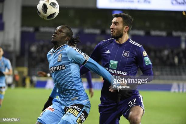 Ivan Obradovic defender of RSC Anderlecht and Mamadou Fall midfielder of Sporting Charleroi pictured during the Jupiler Pro League match between RSC...