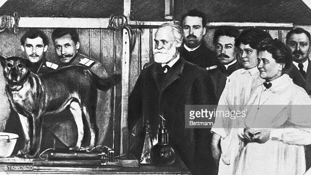 Ivan Pavlov and his staff demonstrating condition reflex phenomenon with a dog.