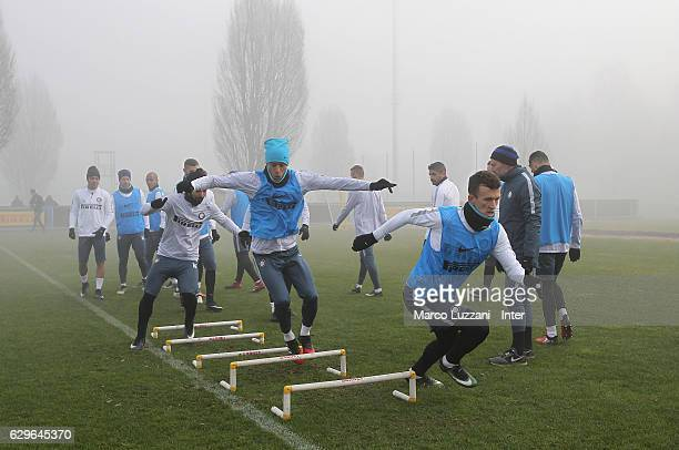 Ivan Perisic and Joao Miranda of FC Internazionale train during the FC Internazionale training session at the club's training ground 'La Pinetina' on...
