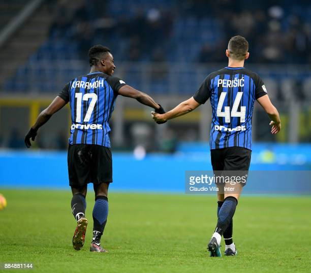 Ivan Perisic and Yann Karamoh of FC Internazionale celebrates at the end of the Serie A match between FC Internazionale and AC Chievo Verona at...
