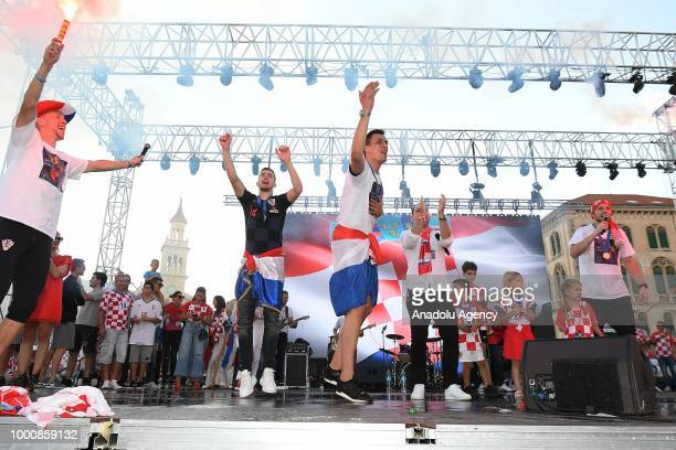 Ivan Perisic Ivan Strinic Ante Rebic Lovre Kalinic and Filip Bradaric greet fans during 2nd place celebration of Croatia in 2018 FIFA World Cup in...