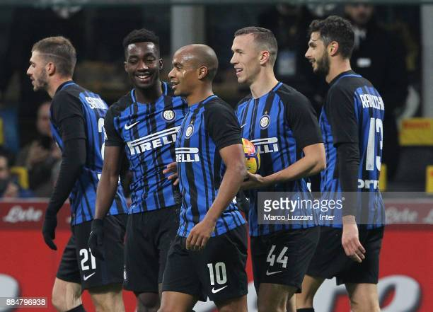 Ivan Perisic Joao Mario and Yann Karamoh of FC Internazonale celebrate the win at the end of the Serie A match between FC Internazionale and AC...