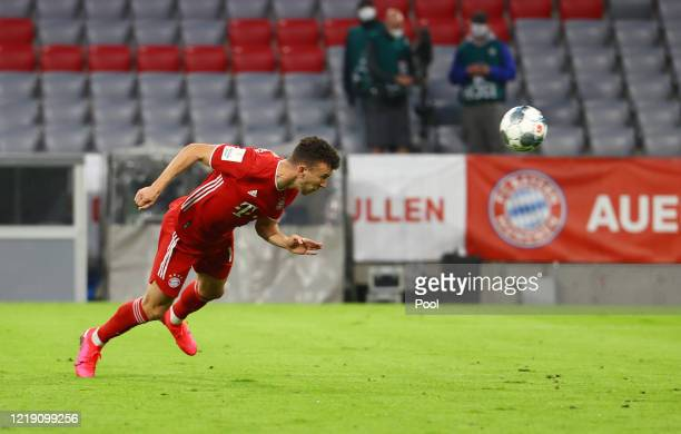 Ivan Perisic of Bayern Munich scores his sides first goal during the DFB Cup semifinal match between FC Bayern Muenchen and Eintracht Frankfurt at...