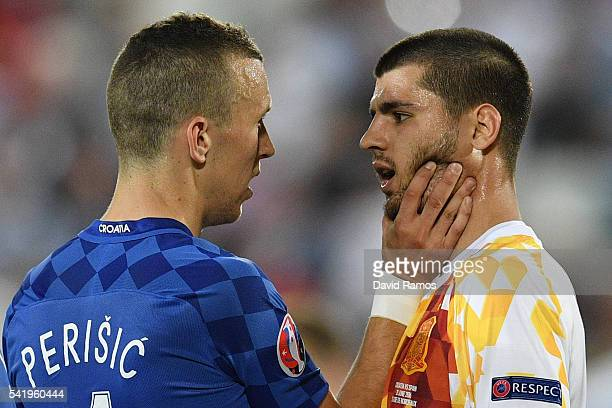 Ivan Perisic of Croatia and Alvaro Morata of Spain face off during the UEFA EURO 2016 Group D match between Croatia and Spain at Stade Matmut...