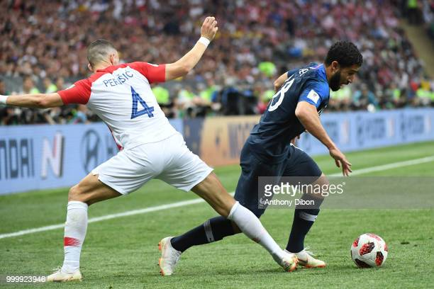 Ivan Perisic of Croatia and Nabil Fekir of France during the World Cup Final match between France and Croatia at Luzhniki Stadium on July 15 2018 in...