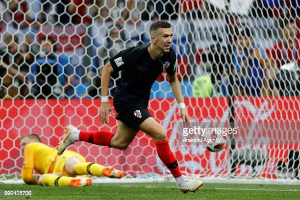 Ivan Perisic of Croatia celebrates after scoring a goal during the 2018 FIFA World Cup Russia semi final match between Croatia and England at the...