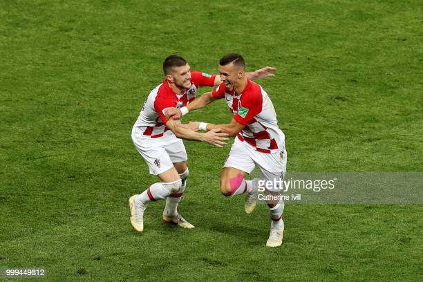 Ivan Perisic of Croatia celebrates after scoring his side's first goal with team mate Ante Rebic during the 2018 FIFA World Cup Final between France...