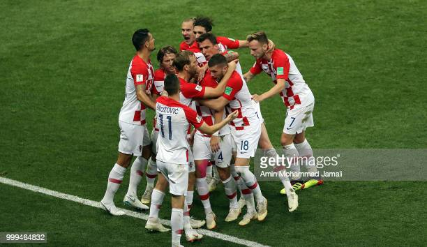 Ivan Perisic of Croatia celebrates after scoring his sides first goal during the 2018 FIFA World Cup Russia Final between France and Croatia at...