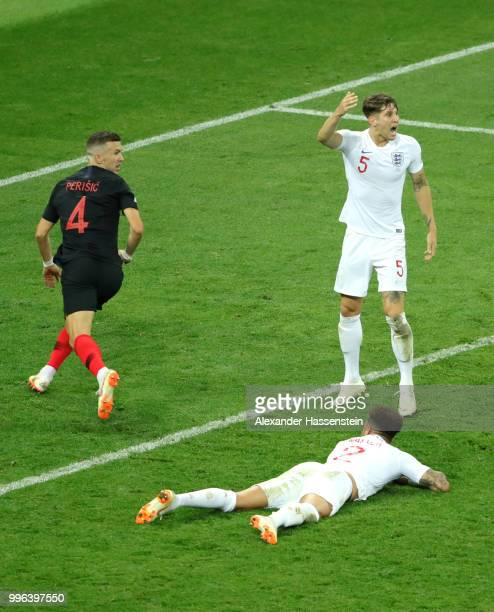 Ivan Perisic of Croatia celebrates after scoring his team's first goal during the 2018 FIFA World Cup Russia Semi Final match between England and...