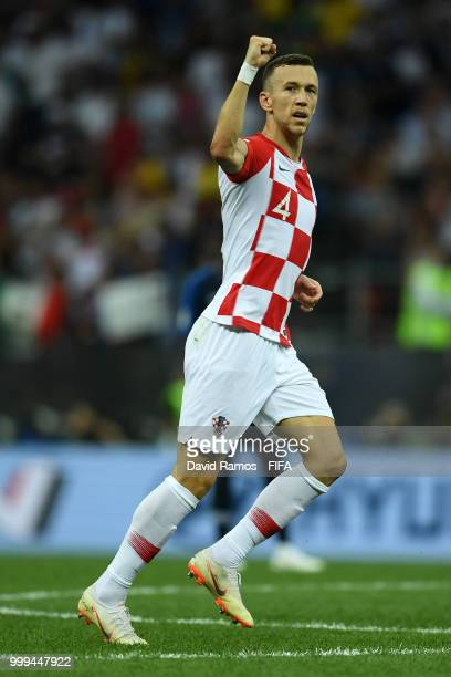 Ivan Perisic of Croatia celebrates after scoring his team's first goal during the 2018 FIFA World Cup Final between France and Croatia at Luzhniki...