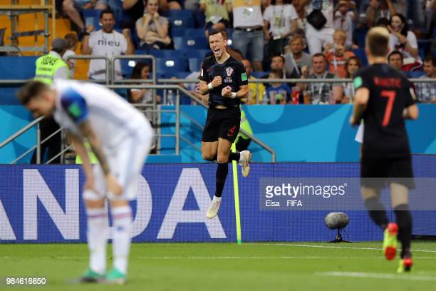 Ivan Perisic of Croatia celebrates after scoring his team's second goal during the 2018 FIFA World Cup Russia group D match between Iceland and...