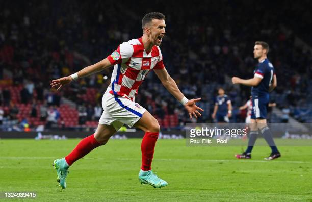 Ivan Perisic of Croatia celebrates after scoring their side's third goal during the UEFA Euro 2020 Championship Group D match between Croatia and...