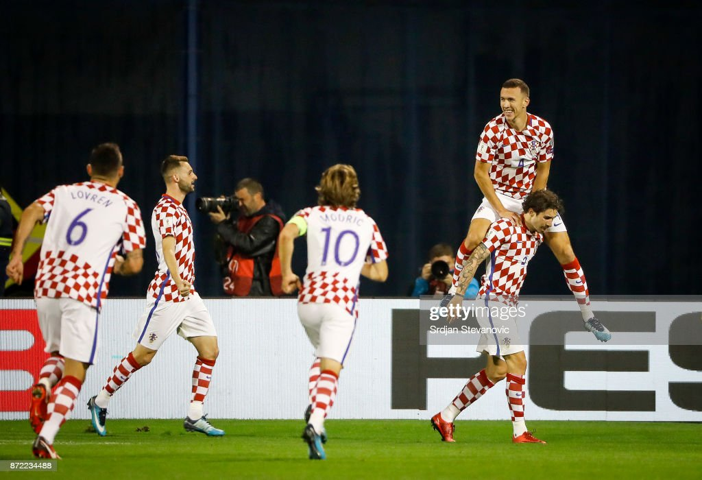 Ivan Perisic (TOP) of Croatia celebrates scoring a goal during the FIFA 2018 World Cup Qualifier Play-Off: First Leg between Croatia and Greece at Stadion Maksimir on November 9, 2017 in Zagreb, Croatia