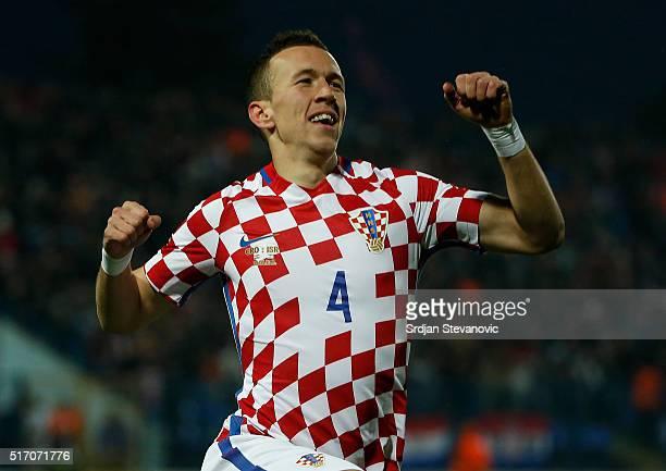 Ivan Perisic of Croatia celebrates scoring a goal during the International Friendly match between Croatia and Israel at stadium Gradski Vrt on March...