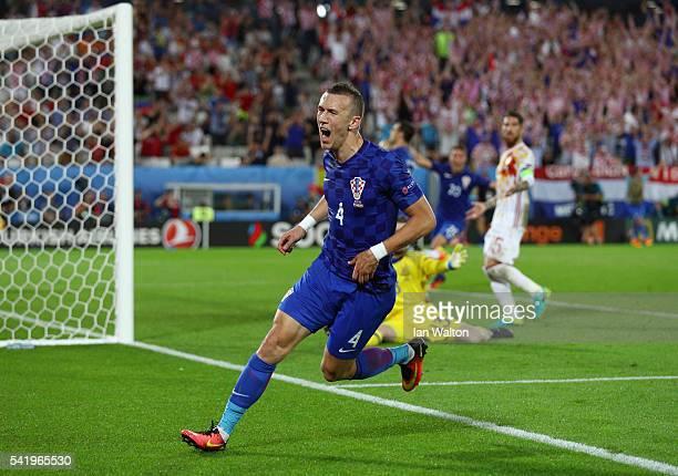 Ivan Perisic of Croatia celebrates scoring his team's second goal during the UEFA EURO 2016 Group D match between Croatia and Spain at Stade Matmut...