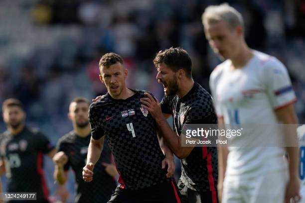 Ivan Perisic of Croatia celebrates with Bruno Petkovic after scoring their side's first goal during the UEFA Euro 2020 Championship Group D match...