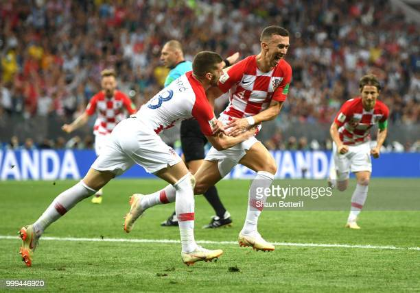 Ivan Perisic of Croatia celebrates with team mate Ante Rebic after scoring his team's first goal during the 2018 FIFA World Cup Final between France...