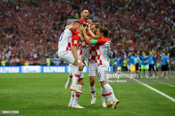 Ivan Perisic of Croatia celebrates with team mates after scoring his team's first goal during the 2018 FIFA World Cup Final between France and...